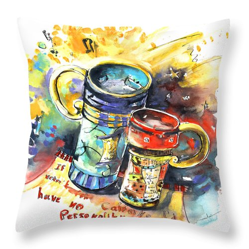 Cafe Crem Throw Pillow featuring the painting If It Were Not For Caffeine by Miki De Goodaboom