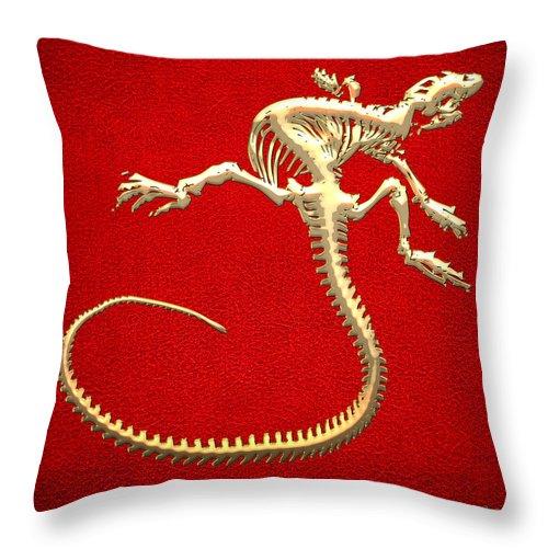 Iguana Skeleton In Gold On Red Throw Pillow