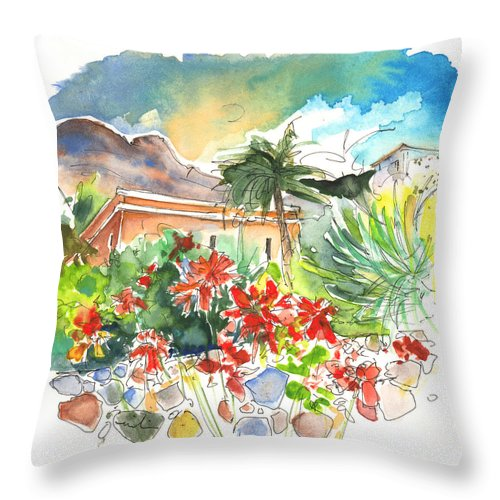 Travel Throw Pillow featuring the painting Igueste De San Andres 03 by Miki De Goodaboom