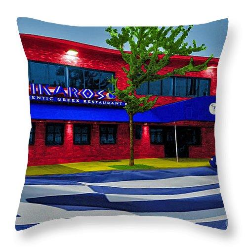 Ikaros Throw Pillow featuring the photograph Ikaros Restaurant Baltimore by Jost Houk