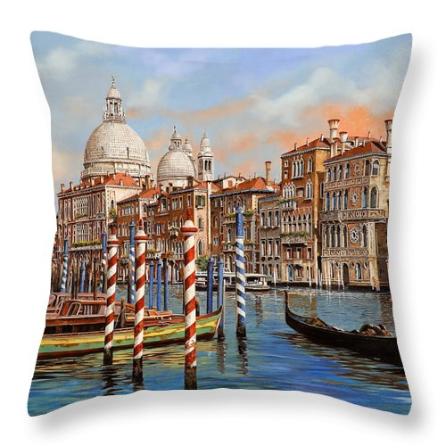 Venice Throw Pillow featuring the painting Il Canal Grande by Guido Borelli