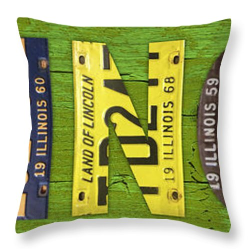 Illinois Throw Pillow featuring the mixed media Illinois State Name License Plate Art by Design Turnpike