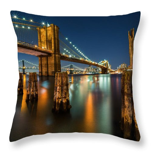 Architecture Throw Pillow featuring the photograph Illuminated Brooklyn Bridge By Night by Mihai Andritoiu