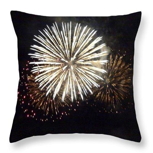 Event Throw Pillow featuring the photograph Illuminated Firework Display Against by Daniel Schild / Eyeem
