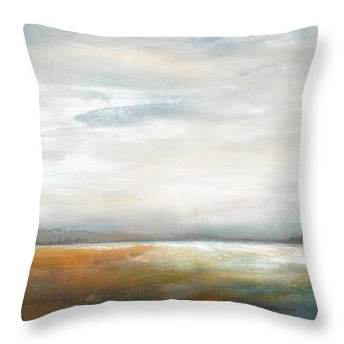 Abstract Landscape Throw Pillow featuring the painting Illusion by Karen Hale