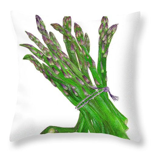 Vegetables Throw Pillow featuring the painting Illustration Of Asparagus by Nan Wright