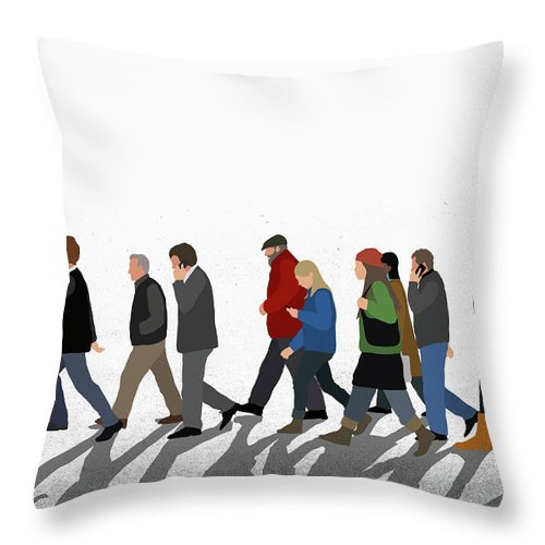 Shadow Throw Pillow featuring the digital art Illustration Of People Walking On by Malte Mueller