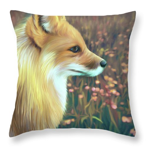 Grass Throw Pillow featuring the digital art Illustration Of Red Fox by Illustration By Shannon Posedenti