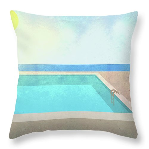 Swimming Pool Throw Pillow featuring the digital art Illustration Of Swimming Pool On Sunny by Malte Mueller