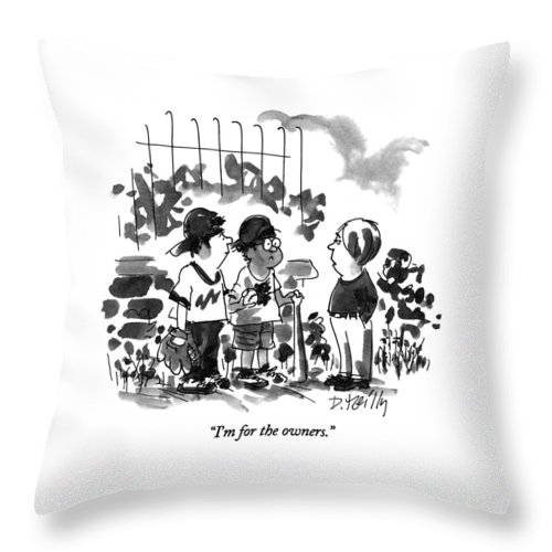 Sports Throw Pillow featuring the drawing I'm For The Owners by Donald Reilly