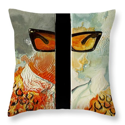 Oil Throw Pillow featuring the painting I'm Smiling At You by Joseph Demaree