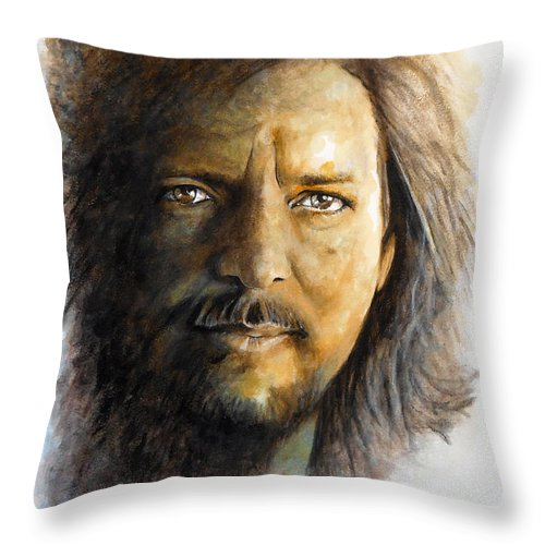 Eddie Vedder.musician.singer Throw Pillow featuring the painting I'm Still Alive by William Walts