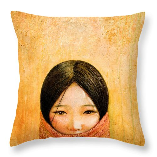 Tibet Throw Pillow featuring the painting Image of Tibet by Shijun Munns