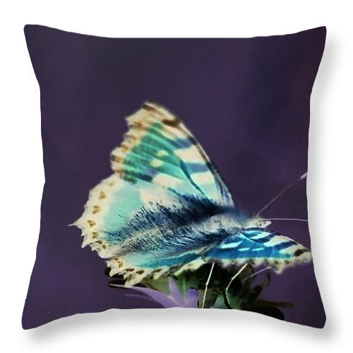 Mauve Throw Pillow featuring the digital art Imaginary Butterfly by Patrick Kessler