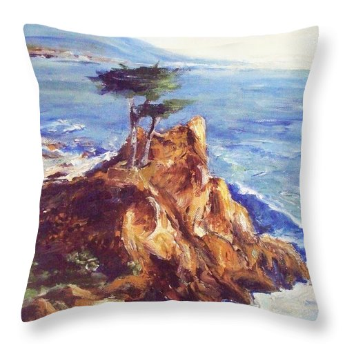 Seascape Throw Pillow featuring the painting Imaginary Cypress by Eric Schiabor