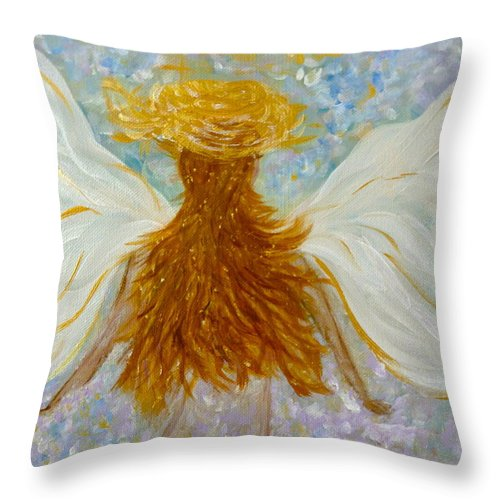 Angelic Throw Pillow featuring the painting Immaterial Girl by Sara Credito