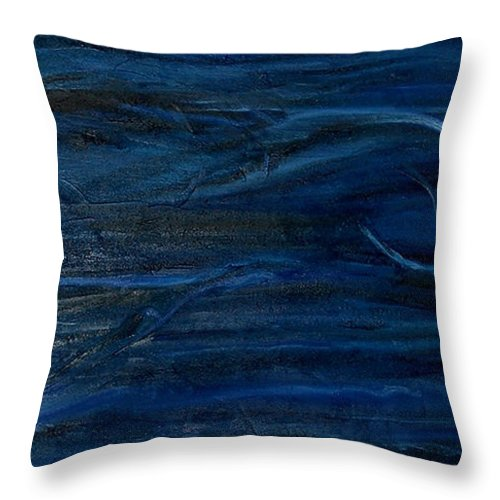 Abstract Throw Pillow featuring the painting Immense Blue by Silvana Abel