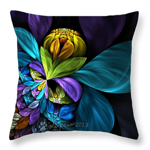 Abstract Throw Pillow featuring the digital art Imminent Bloom by Peggi Wolfe