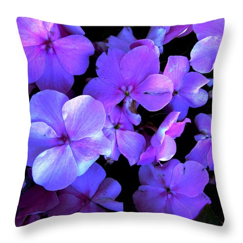 Flower Throw Pillow featuring the photograph Impatients by Nancie Johnson