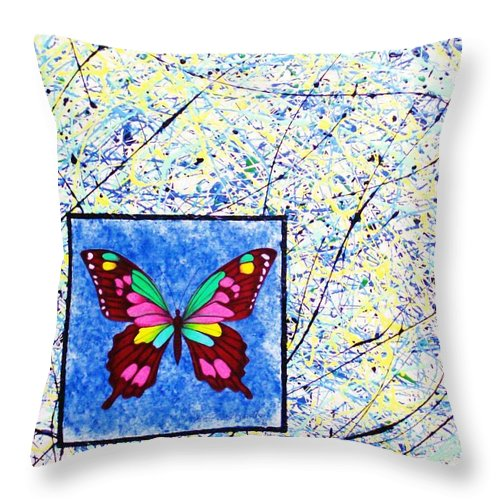 Abstract Throw Pillow featuring the painting Imperfect I by Micah Guenther