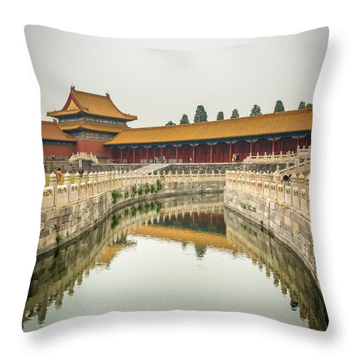 Forbidden City Throw Pillow featuring the photograph Imperial Waterway by Andrew Matwijec