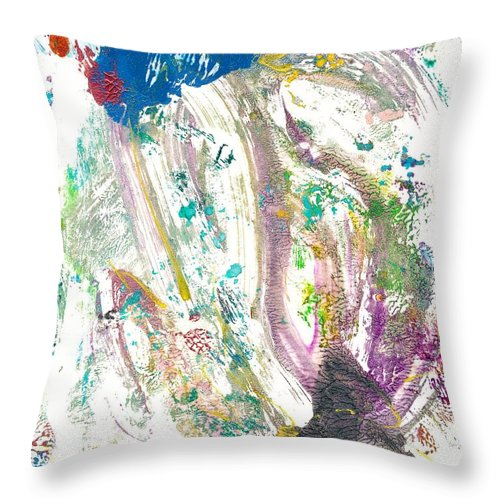 Monoprint Throw Pillow featuring the painting Impression by Janet Gunderson