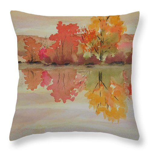 Impressions Of Fall Throw Pillow featuring the painting Impressions Of Fall by Warren Thompson
