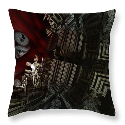 Fractal Throw Pillow featuring the digital art In A Land In Space by Melissa Messick