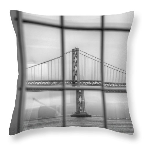 San Francisco Throw Pillow featuring the photograph in a window the Bay Bridge by SC Heffner