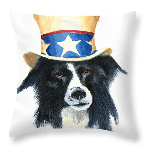 Dog Throw Pillow featuring the painting In Dog We Trust by Jerry McElroy