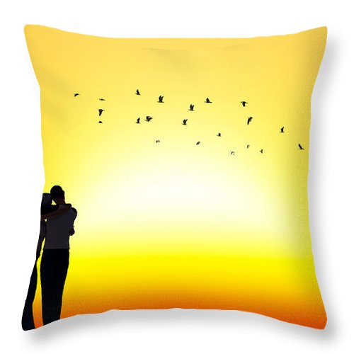 Sunset Throw Pillow featuring the mixed media In Each Others Arms II... by Tim Fillingim