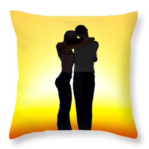 Sunset Throw Pillow featuring the digital art In Each Others Arms... by Tim Fillingim