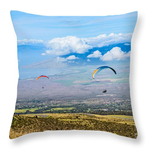 Paragliders Throw Pillow featuring the photograph In Flight - Paragliders Taking Off High Over Maui. by Jamie Pham