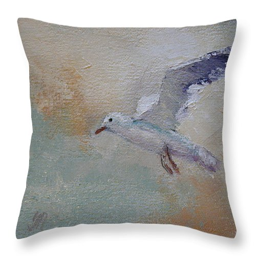 Bird Throw Pillow featuring the painting In Flight 2 by Yvonne Ankerman