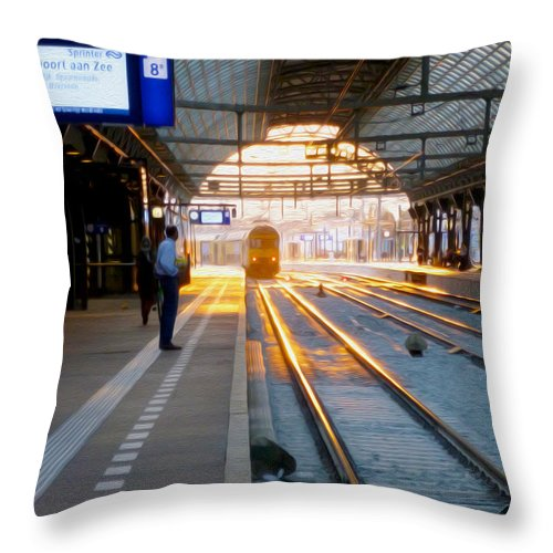 Amsterdam Central Station Throw Pillow featuring the photograph In From The Sun by Tracy Winter