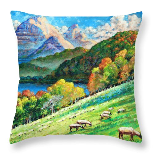 Mountains Throw Pillow featuring the painting In God's Green Pastures by John Lautermilch