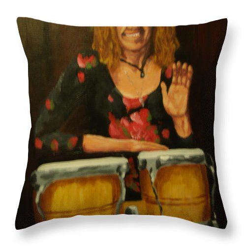 Portrait Throw Pillow featuring the painting In Her Gotta Come Out by David Rodden