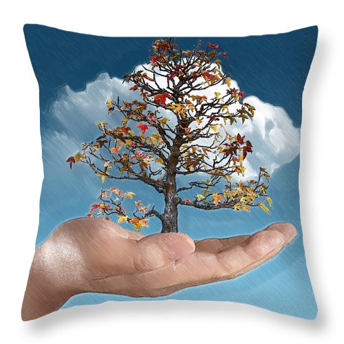 Arboretum Throw Pillow featuring the digital art In His Hands by John Haldane