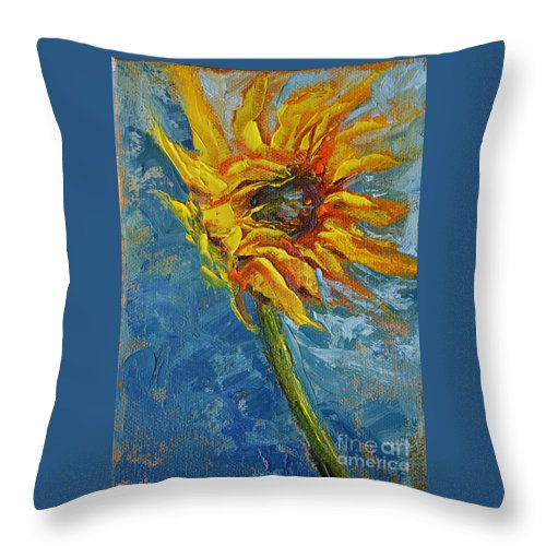 Sunflower Yellow Blue Green Blowing Wind Sky Nature Garden Flower Seed Air Throw Pillow featuring the painting In Motion by Patricia Caldwell