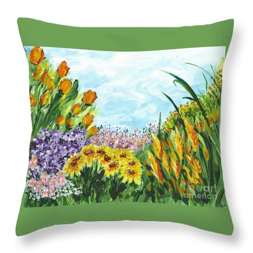 Landscape Throw Pillow featuring the painting In My Garden by Holly Carmichael