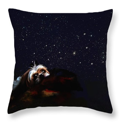 Dog Throw Pillow featuring the digital art In One Of Those Stars by Richard Okun