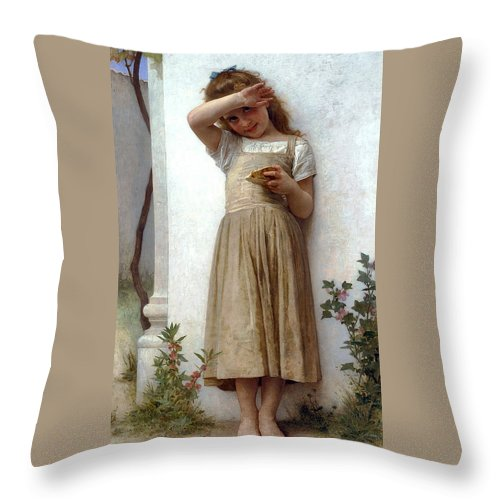 In Penitence Throw Pillow featuring the digital art In Penitence by William Bouguereau