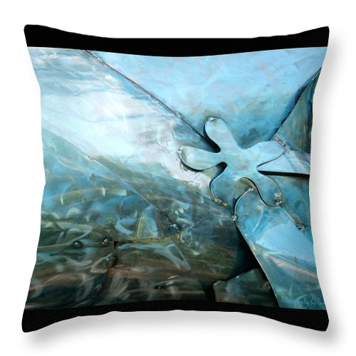 Metal Throw Pillow featuring the photograph In The Blue Ocean by Tamara Kulish