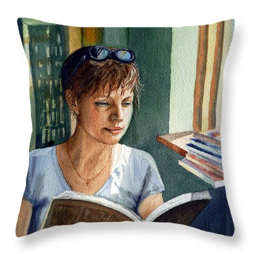 Woman Throw Pillow featuring the painting In The Book Store by Irina Sztukowski