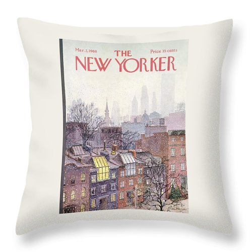 Albert Hubbell Ahu Throw Pillow featuring the painting In The Borough by Albert Hubbell