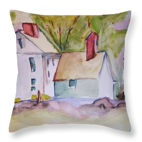 Barn Throw Pillow featuring the painting In The Country by Elaine Duras