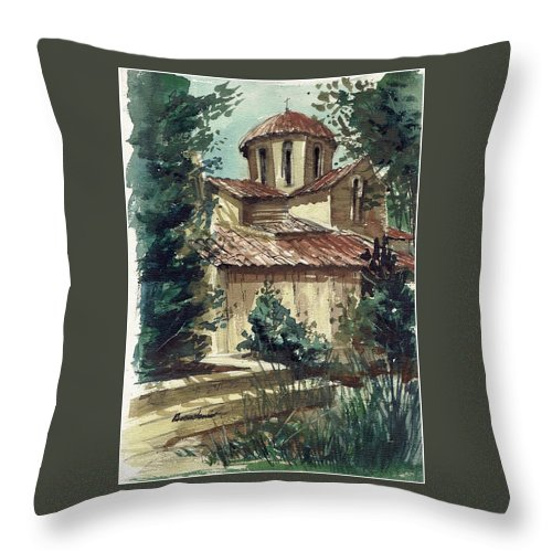Landscape Throw Pillow featuring the painting In The Courtyard by Renee Benoit