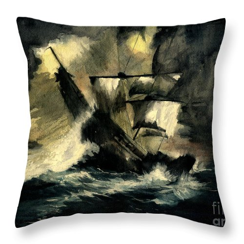 Pirates Ships Throw Pillow featuring the painting In The Dark by Melly Terpening