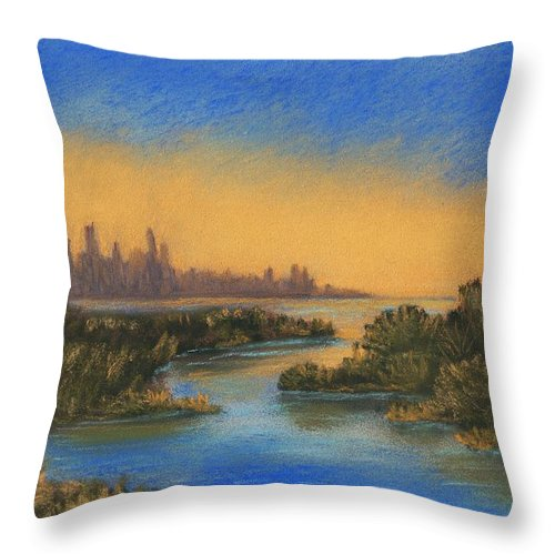 Landscape Throw Pillow featuring the painting In The Distance by Anastasiya Malakhova