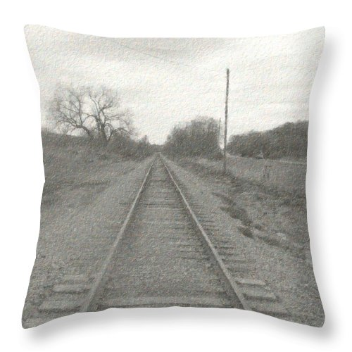 Train Throw Pillow featuring the photograph In The Distance by Rhonda Barrett